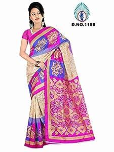 Winza New & latest printed bhagalpuri cotton wedding saree for ladies girls (Great indian diwali Sale offer deal)