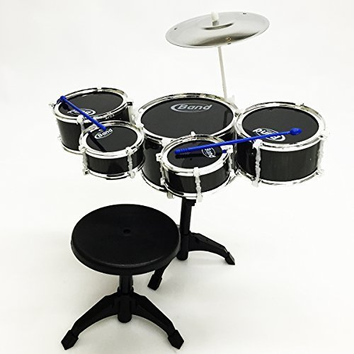apontus-childrens-kids-musical-instrument-drum-play-set-w-5-drums-cymbal-chair-drumsticks-by-apontus