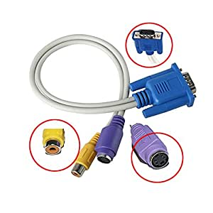 Caxico NEW VGA to TV CONVERTER S-VIDEO+RCA OUT CABLE ADAPTER