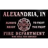 qy54484-r FIRE DEPT ALEXANDRIA, IN INDIANA Firefighter Neon Sign Barlicht Neonlicht Lichtwerbung