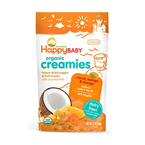 Happy Baby Organic Creamies Freeze-Dried Veggie & Fruit Snacks with Coconut Milk, Carrot, Mango & Orange, 1 oz (Pack of 8) - Packaging may vary (Organic Freeze Dried Carrots compare prices)