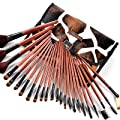 Fr?ulein3��8 24 Pro Makeup Brown Brushes Full Set with GIRAFFE Style Case