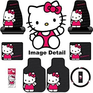 Hello Kitty Sanrio Waving Auto Car Truck SUV Accessories Interior Combo Kit Gift Set - 8PC by Sanrio