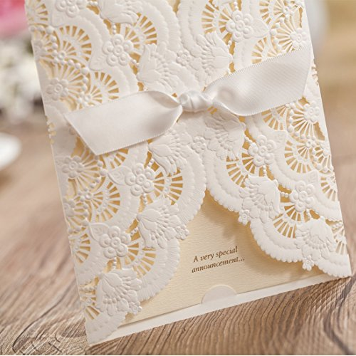 Wishmade 50x Elegant White Laser Cut Wedding Invitations Cards Kits with Lace and Hollow Flowers Card Stock Paper for Birthday Anniversary Baby Shower Graduation Quinceanera(set of 50pcs) CW5111 4