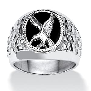 PalmBeach Jewelry Men's Onyx Eagle Nugget Ring in Sterling Silver