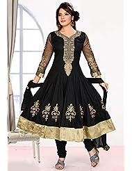 Utsav Fashion Women's Black Cotton Readymade Anarkali Churidar Kameez-X-Small - B015UDH7DO