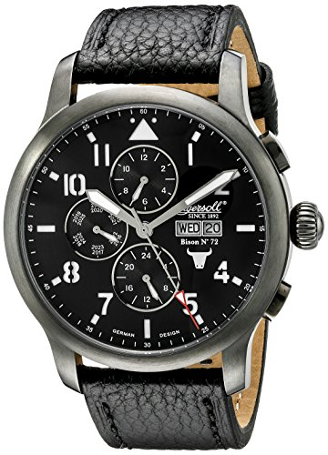 Ingersoll Unisex Automatic Watch with Black Dial Analogue Display and Black Leather Strap IN1221GUBK