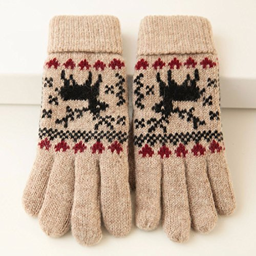 BBSLT Thick warm Christmas Moose Fawn wool gloves knitted ladies gloves,Khaki
