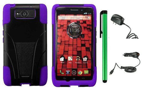 Buy  Motorola DROID ULTRA MAXX XT1080M / Motorola Obake (Verizon) Accessory Combination - Premium Stand Protector Hard Cover Case + Travel (Wall) Charger & Car Charger + 1 of New Metal Stylus Touch Screen Pen (Purple / Black)