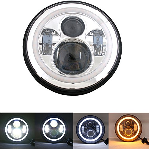 UNI-Balance 7Inch Round LED Headlight Harley Davidson Headlight Road King Street Glide Ultra Classic Electra Glide Fatboy Heritage Softail Yamaha Cruiser Roadstar Royal star Deluxe Headlights (Road Glide Headlight Assembly compare prices)