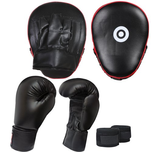 FG Red/Black 3 pcs Focus Pads Boxing Gloves hand wrap Hook & Jab Pads Kickboxing martial arts training equipment.