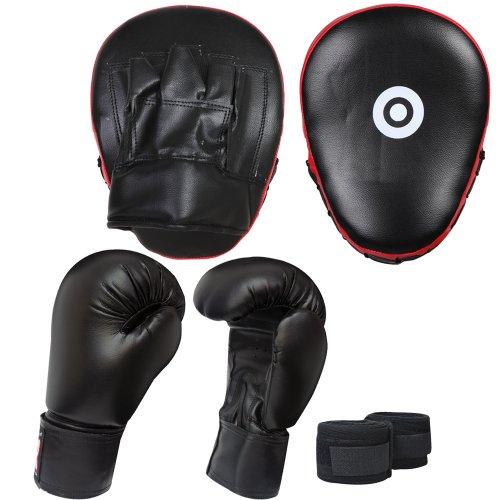 FG Red/Black 3 pcs Focus Pads Boxing Gloves hand wrap Hook & Jab Pads Kickboxing martial arts training equipment.
