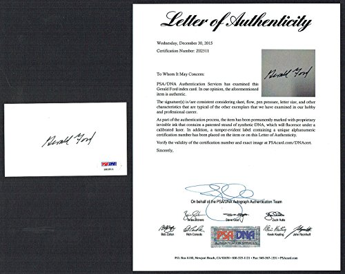 Gerald Ford signed autograph 3x5 Former President of the USA Full PSA Letter (Gerald Ford Autograph compare prices)