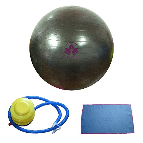 Clever Yoga Exercise Fitness Ball with Hand Towel and Foot Pump - Black, 65cm