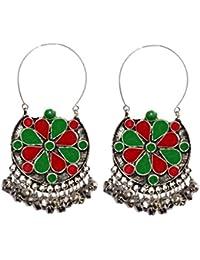 Sansar India German Silver Afghani Beaded Hook Dangler Earrings For Women
