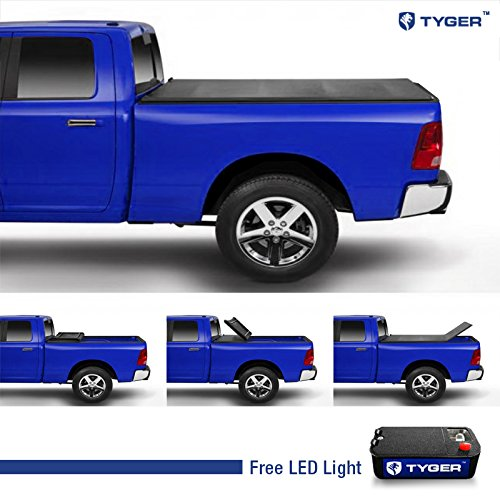 Tyger Tri-Fold Pickup Tonneau Cover Fits 04-08 Ford F-150 (Not 04 F-150 Heritage Model); 05-08 Lincoln Mark Lt Crew Cab 5.5' (66 Inch) Short Box Trifold Truck Cargo Bed Tonno Cover