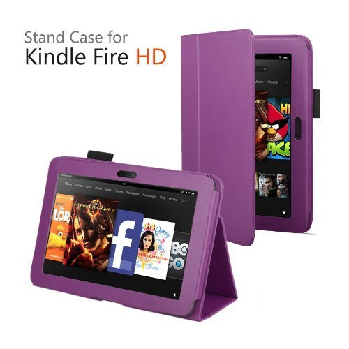 Elsse (TM) Dividend Folio Case Cover for Kindle Flames HD 7 Inch Tablet (2012 model) / Set afire Fire HD 7 Tablet (Wake or put your device to snooze by opening or closing the case) (Purple)