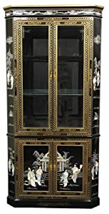 "Elegant Asian Dining Furniture - 80"" Corner Design Ming Black Lacquer Breakfront China / Curio Cabinet"
