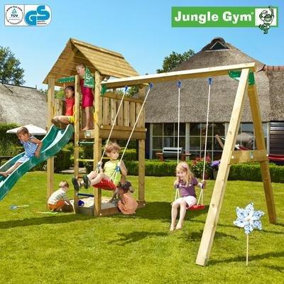 Jungle Gym Majas CABIN - Spielturm Set mit Schaukel und Rutsche - Grün