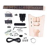 ammoon WT-1 DIY キットセット エレキギターキット ギター 指板:紫檀 本体:バスウッド製 ネック: メープル 6弦 音楽愛好者対応