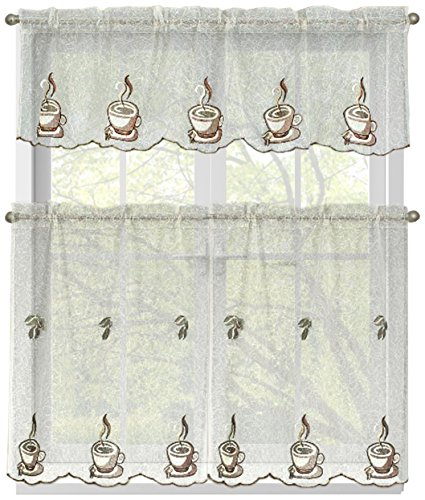 Window Elements Embroidered 3-Piece Kitchen Tier and Valance 60 x 54 Set, Three Cups a Day (Kitchen Elements compare prices)