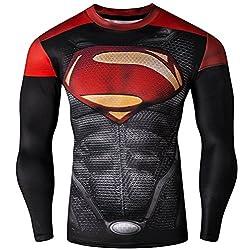 Madhero Men's the Avengers 3D Sport Tights Long Sleeve T-shirts
