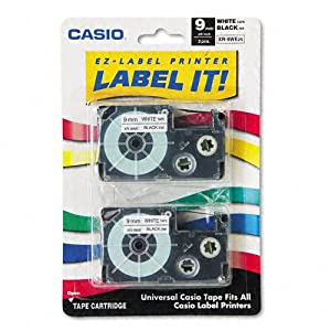 Casio XR-9WE2S 9mm Labeling Tape (Black on White) 2-Pack