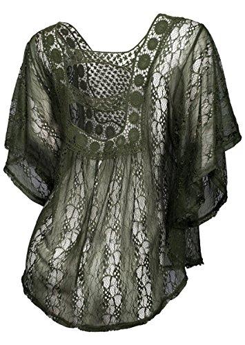 0ed17014b eVogues Plus Size Sheer Crochet Lace Poncho Top Dark Olive - 3X ...