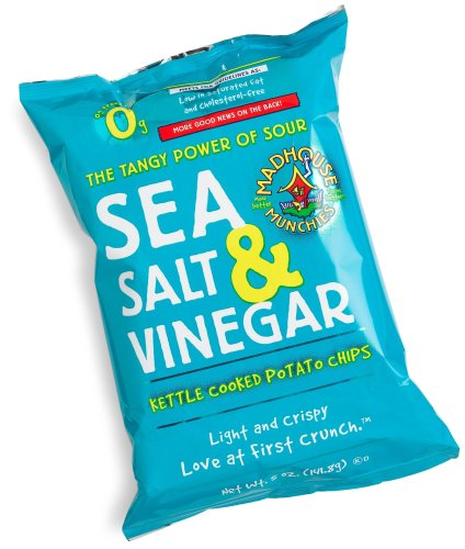 Madhouse Munchies Sea Salt & Vinegar Potato Chips, 5-Ounce Bags (Pack of 12)