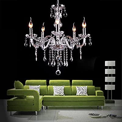 Modern Crystal Lamp Fixture Pendant 5 Lights Ceiling Chain Candle Chandelier
