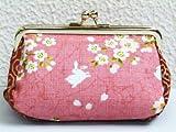 和小物 和柄がま口ポーチ(コスメ・小物入れ)・財布桜うさぎピンク