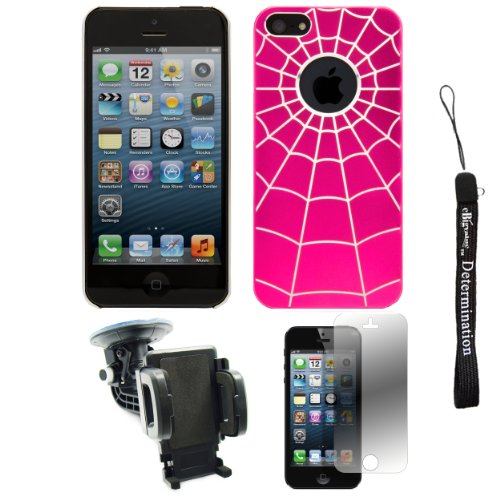 Pink Spider Web Design One-Piece Back Protective Cover For Apple Iphone 5 Ios (6) Smart Phone + 360° Car Rotatable Windshield Mount Kit + Apple Iphone 5 Screen Protector + An Ebigvalue Tm Determination Hand Strap