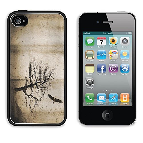 MSD Apple iPhone 4 4S Aluminum Plate Bumper Snap Case Grunge style textures with stains and tree and bird 9190787