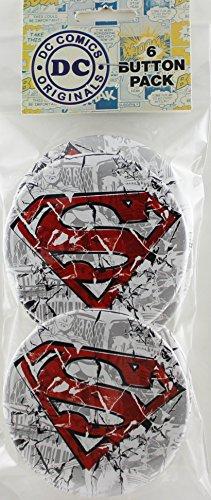 """Button set DC Comics Superman Cracked Button (6-Piece), 3"""""""