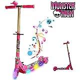 MONSTER HIGH FOLDABLE SCOOTER TODDLER KID GIRL PUSH KICK 3 WHEEL LED RIDE ON TOY