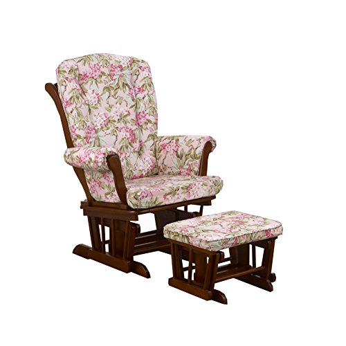 Cotton Tale Designs Glider Floral on Espresso with Ottoman, Tea Party