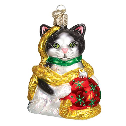 Old World Christmas Holiday Kitten Glass Blown Ornament