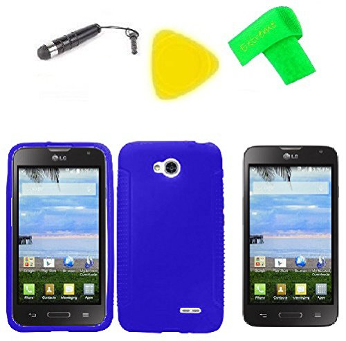 Phone Cover Case Cell Phone Accessory + Extreme Band + Stylus Pen + Lcd Screen Protector + Yellow Pry Tool For Straight Talk Lg Ultimate 2 L41C (Silicone Blue)