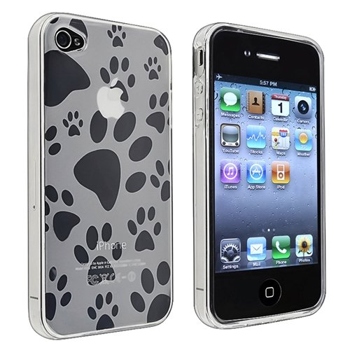 eForCity TPU Rubber Skin Case compatible with Apple? iPhone? 4 / 4S, Clear Dog Paw Foot Print