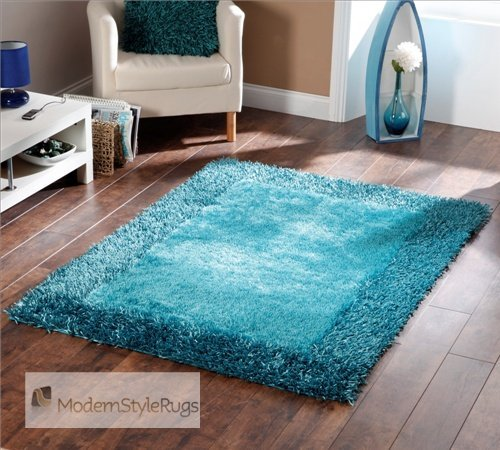 Thick Shaggy Teal Blue Modern Home Rug - AVAILABLE IN 3 SIZES -, 120 x 170cm (4ft x 5ft 7)