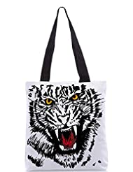 Snoogg Sketch Of White Tiger Vector Illustration Designer Poly Canvas Tote Bag - B012FZF00C