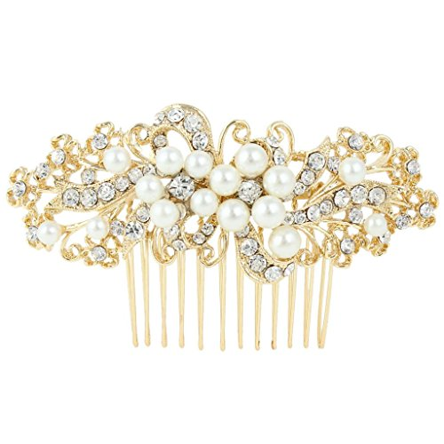 EVER FAITH® Wedding Leaf Decorative Ivory Color Simulated Pearl Hair Comb Clear Austrian Crystal