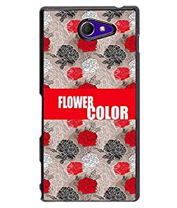 Printvisa 2D Printed Color Flower Designer back case cover for Sony Xperia M2 - D4237