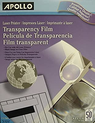 Apollo CG7060 Transparency Film for Laser Printers, Letter, Clear, 50/Box