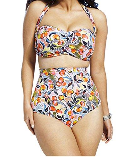 YFFaye Women's Cheery Print Ruched Top High Waist Plus Size Swimsuit