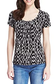 M&S Collection Honeycomb Print Top with StayNEW [T43-1103-S]