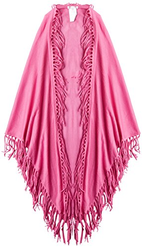 Minnie Rose Women's Cotton Fringe Shawl, Fuchsia, One Size