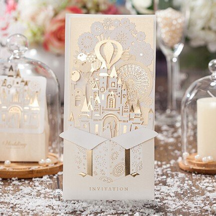 Wishmade 50x Laser Cut 3D Gold Gilding Wedding Invitations Cards with Bride and Groom in Castle Cardstock Paper for Engagement Bridal Shower(set of 50pcs)CW5093
