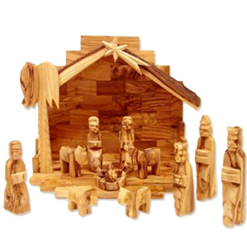 Olive Wood Nativity Set with Rustic Stable (Bark Roof) (Nativity Set Olive Wood compare prices)