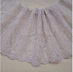 Apricot lace accessories Mesh embroidered lace DIY clothing lace headdress lace (Apricot double side)